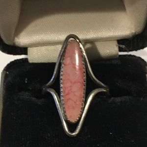 Beau Sterling Silver and Pink Stone Ring